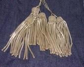 "6 Antique Silver Metallic Bullion Tassels 1920s Germany 3"" long"