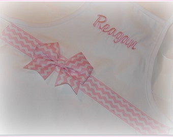 Kids Toddler size Children's personalized apron with pink chevron ribbon