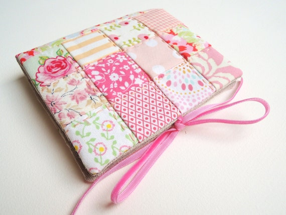Needlecase ~ needle book in pink and peach patchwork, lined with linen ~ ReadyTo Ship