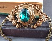 Victorian style Swarovski emerald green crystal antique aged brass bracelet