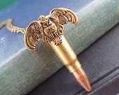 Night Guard---Vintage large empty bullet,Recycled empty bullet owl necklace
