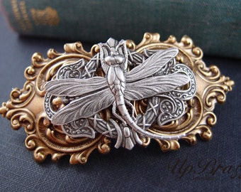 Dragonfly barrette-aged brass-Victorian-bridal-medieval-shabby chic-steampunk-mythology V003