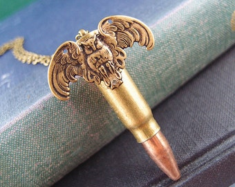 Night Guard---Vintage large empty bullet,Recycled empty bullet owl necklace N024
