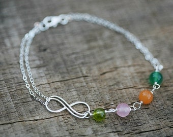 Personalized, Mother's Bracelet, Infinity Bracelet, Custom Birthstones, Grandmother's Bracelet,Monogram bracelet