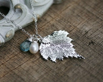 Birch Leaf Necklace,custom birthstone,real leaf necklace,Mother jewelry,Grandmother gift,Bridesmaid gifts,Wedding Jewelry,Family birthstone