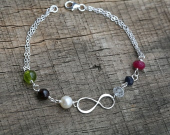 Personalized, Mother's Bracelet, Infinity Bracelet, Custom Birthstones, Grandmother's Bracelet,Monogram bracelet
