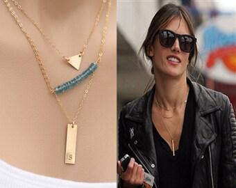 Personalized  layered Triangle Bar Londan Blue topaz,Geometric jewelry Bar necklace, minimalist jewelry , Initial Rectangle