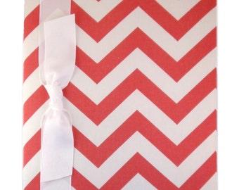 Tight Bound Baby Memory Book - Coral Chevron Stripe