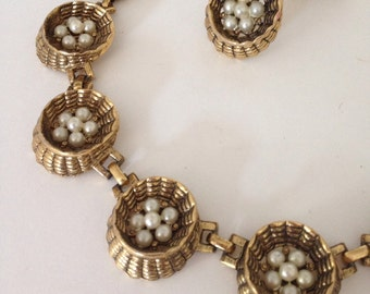 Vintage Necklace and Earring set - 1950's choker style Jewelry