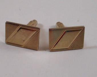 1950's Cuff Links Gold Tone Deco Style