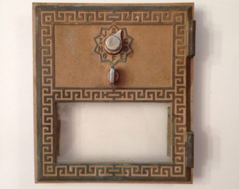 1950's Post Office Box Doors - Grecian Style Brass and Glass