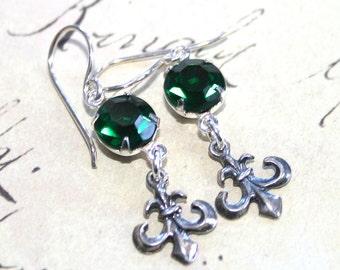 Emerald Parisian Earrings Made Wilth Sterling Silver - Emerald Gothic Fleur de Lis Earrings