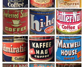 Vintage TIN COFFEE CANS squares -Instant Download Digital Printable-  - 12 cans - Old Coffee Tins DiY Print as many as you like