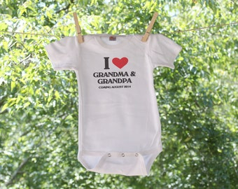 Pregnancy Announcement I love my Grandma and Grandpa infant T bodysuit // New Baby // Arriving Soon -KW1