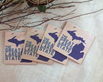 Michigan // The Great Lakes state // Wood Coasters // Set of 4 - GC