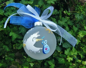 Its A Boy - Flying Stork Ornament - New Baby Ornament, Special Delivery - Gender Reveal - Bundle of Joy - Hand Painted Christmas Ornament