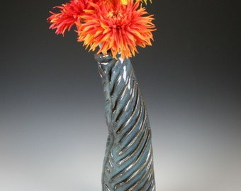 Ceramic Vase, Blue Ceramic Vase, Freeform Textured Blue Vase with an  Attitude