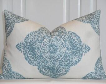 Duralee Fabric - Hand Made Pillow Cover - Diamond - Batik - Mani In Aqua - Accent Pillow