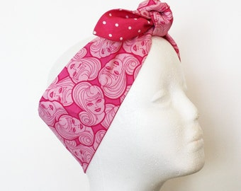 Vintage Inspired Head Scarf, Bandana Style, Doll head, Barbie, Pink, Retro