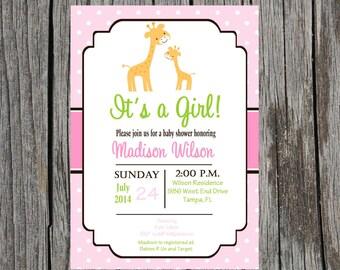 Printed giraffe Baby Shower Invitation, jungle baby shower, giraffe, baby girl shower, baby girl