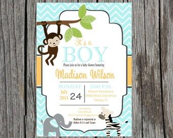 Printed Jungle Baby Shower Invitation, jungle baby shower, monkey, elephant, zebra, baby boy shower, boy