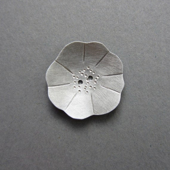 Poppy Flower Button silvertone metal 2 big sizes artisan handmade