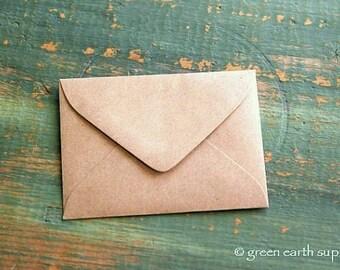 "50 mini Kraft brown Envelopes: 3 5/8"" x 2 5/8"" Kraft grocery bag, eco-friendly envelopes, mini envelopes, ACEO envelopes, ATC envelopes"