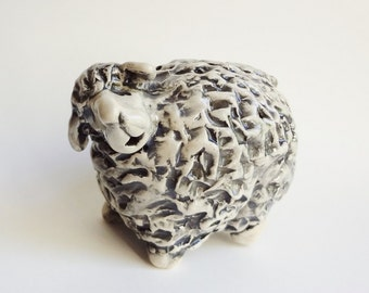 Sheep Sculpture - Pottery Sheep - Nativity Animal - Sculpted Sheep - Pottery Animal - Clay Sheep - Woolly Lamb - Pinched Pot Animal