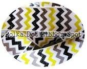 Winter Chevron Glitter ribbon 5 yards- 7/8 inch Yellow, Charcoal Grey, Black Sparkle US Designer grosgrain ribbon
