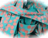 Glitter Grograin ribbon 5 yards- 7/8 inch Tropic/Coral Silly dot grosgrain ribbon- US designer ribbon