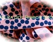 Silly Dots Ribbon 5 yards- 7/8  inch Coral and Navy polka dot printed grosgrain hair bow craft ribbon