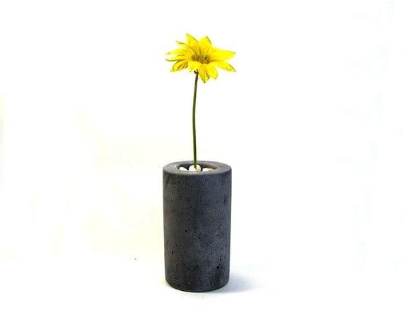 SALE 50% OFF Slim Concrete Bud Vase - Grey