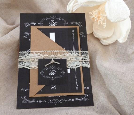 Diy Chalkboard Wedding Invitations: Rustic Lace Wedding Invitation DownloadRustic Chalkboard