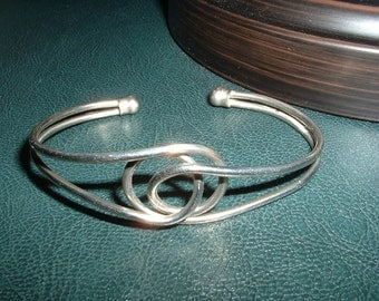 Vintage 1960 Nickle Wire Wrap KNOT Cuff Bracelet So Clever