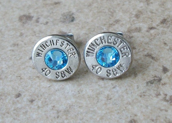 Winchester 40 S&W Nickel Bullet Stud Earring, Aquamarine Swarovski Crystal, Surgical Steel Post - 473
