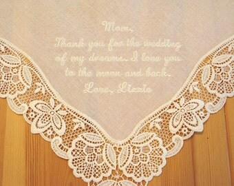 Wedding Handkerchief, Cream Color German Plauen Lace Handkerchief Style No. 40734 with Message for Mother of the Bride