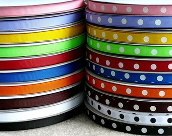 SALE 30 Yards Dippy Dots and Matching Solid 3/8 Grosgrain Ribbons