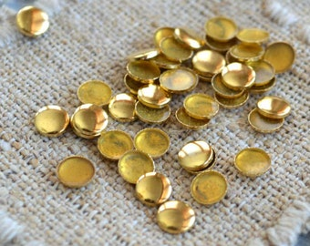 50pcs Flat Back Gold Finished Brass Hot-Fix Rhinestud 5mm Domed Round