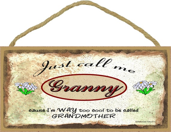 """Just Call Me GRANNY  I'm Way Too COOL For Grandmother Grandparent 5"""" x 10"""" Daisy Daisies Wall SIGN Plaque"""