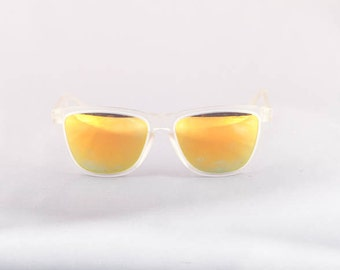 Vintage Deadstock 80s 90s Frogskin Inspired Sunglasses with Orange Mirrored Lens