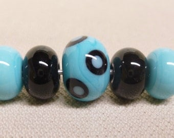 "Handmade Lampwork Beads, Small Hole Beads, Blue and Black Mix, Set of 5, 3/32"" Hole"