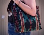 Marsala and Coral Handbag, Tote, Made of Southwestern Navajo Native American Boho Furniture Fabric