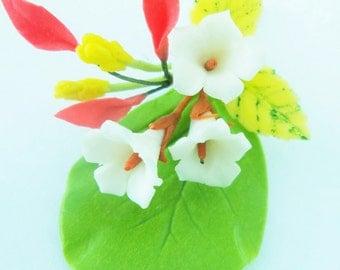 Miniature Polymer Clay Handmade Ivory Flowers bouquet 1 Bunch