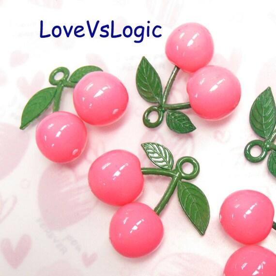 3 Huge Juicy Cherry Plastic Charms. Pink.
