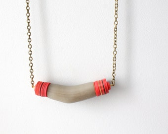 Tribal chevron red brown necklace
