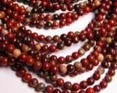 Brecciated Jasper - 6 mm round beads -1 full strand - 66 beads - Poppy jasper - RFG6