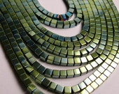 Hematite - 3mm cube beads - full strand - 133 beads - A quality - aqua green hematite - PHG9