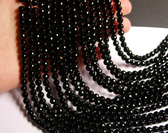 Black Onyx - 6mm faceted round beads -1 full strand - 64 beads - AA quality - small cut - RFG947