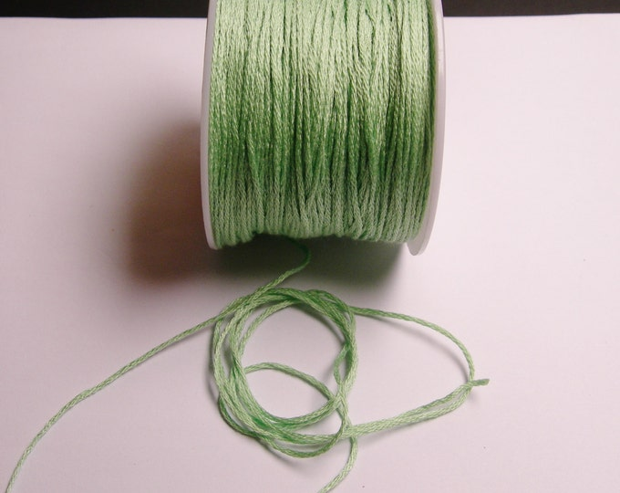 Cotton Cord - knotting - embroidery cord - 1mm - 120 meter - 390 foot - Green - CTN14