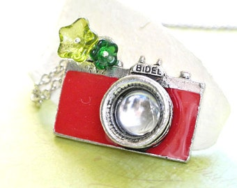 Red Camera Necklace, Red Camera with Green Flowers Necklace
